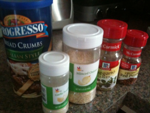 Add your own spice mixture to plain or seasoned bread crumbs.
