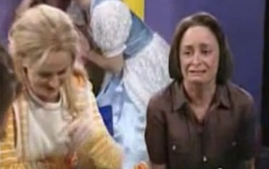 Screen capture of actress Rachel Dratch in one of the funniest SNL sketches ever aired. She's not crying, she's laughing!