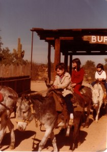An exciting ride on a burro while visiting my Aunt and Grandfather in Arizona.