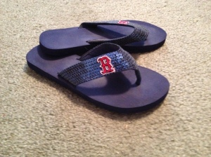 Gotta support the team! Yes, these flip-flops have sequins on them. Still gotta be fashionable!