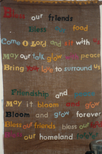 A banner mounted on the wall at the Emmaus retreat - an example of my fiends' and my ongoing commiment to our faith.