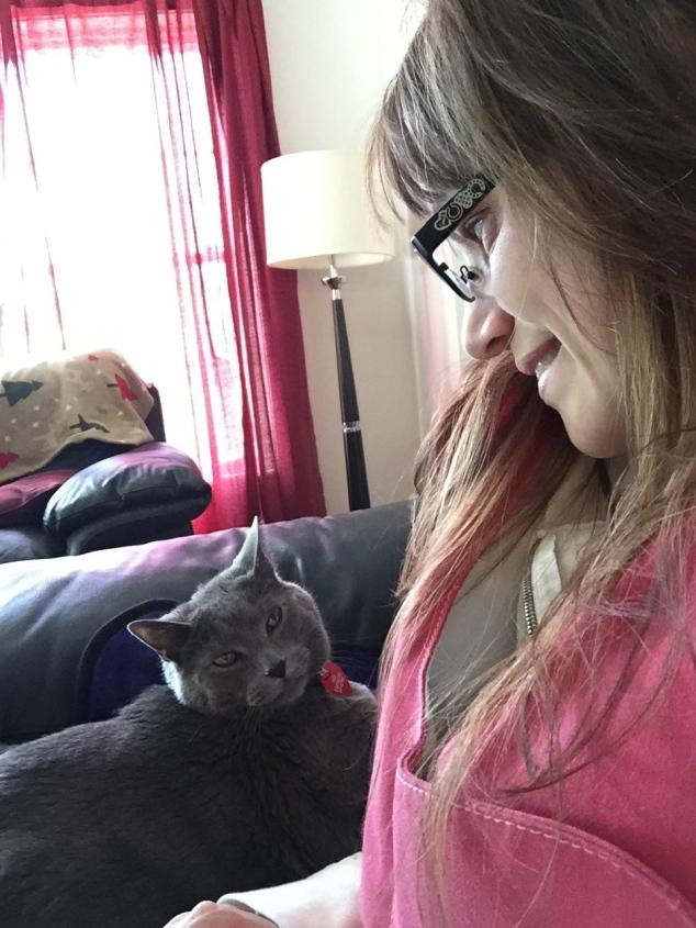 My Kitty, Milo, helping me do my Vest.