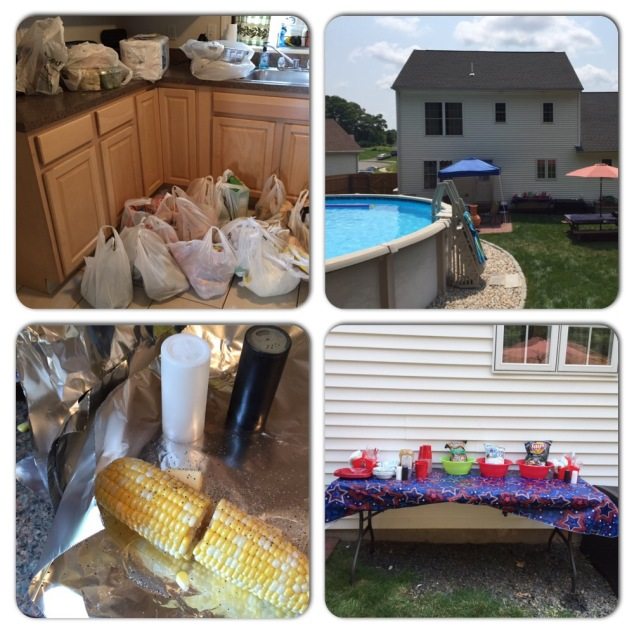 Groceries. Setting up. Corn on the cob. So excited!